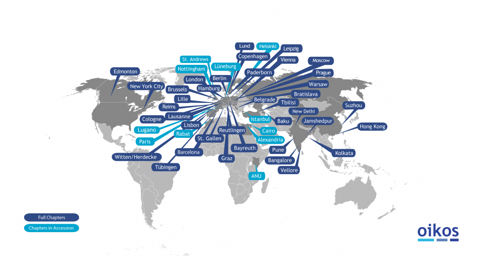 The map shows the oikos international network.